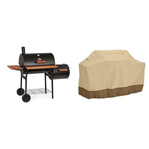 Char-Griller Charcoal Grill with Side Fire Box with Classic Accessories Cover