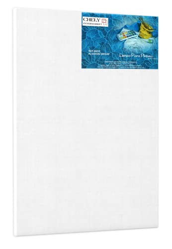 Chely Intermarket | 37C3A | Lienzos para pintar 50x150cm| Apto óleo, acrílico o técnica mixta Pre-estirado 100% algodón/Libre de Ácido/Hebra Media/Color blanco/Perfil 16mm.(560-50x150-1,25)