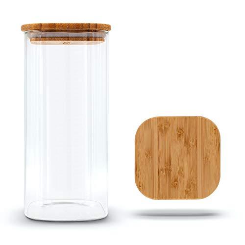 Molis® Tarro de cristal rectangular y estable con tapa de bambú, 1 kg de harina, 1,5 litros, recipiente de almacenamiento versátil y resistente al aroma.