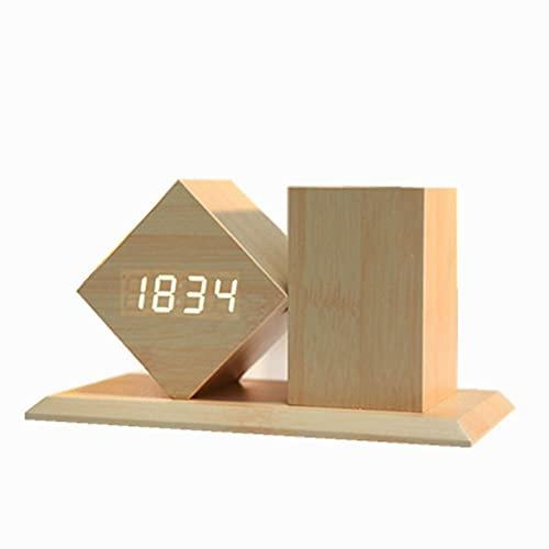 Led Holz Wecker Kreativ Mit Stifthalter Mode Geschenk Holzuhr Multifunktions-digitalanzeige Student Desktop Nachttisch Uhr