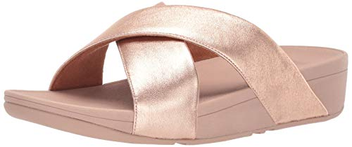 Fitflop Damen Lulu Cross Slide Peeptoe Sandalen, Rosa (Rose Gold 323), 38 EU