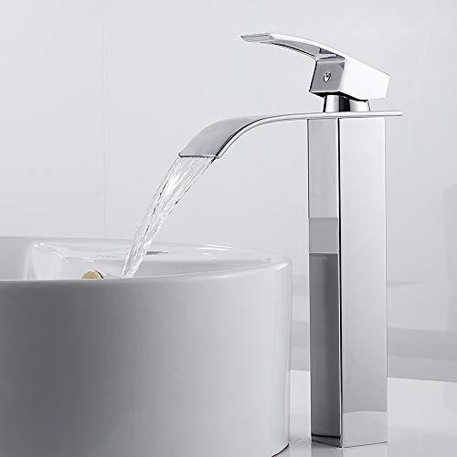 Waschtischarmatur Wasserfall für Bad Hoch Wasserfall Mischbatterie Badarmatur Wasserhahn Einhebel Heißes und Kaltes Wasser