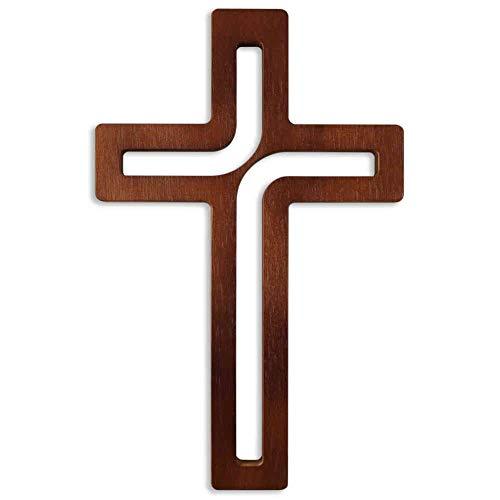 kruzifix24 Devotionalien Wandkreuz modern Holzkreuz Dunkelbraun durchbrochen 25 x 15,5 cm Schmuckkreuz für die Wand