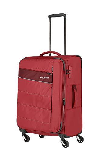 travelite 4-Rad Weichgepäck Koffer Größe M mit Dehnfalte + TSA Schloss, Gepäck Serie KITE: Extrem leichter Trolley im sportlichen Design, 089948-10, 64 cm,...
