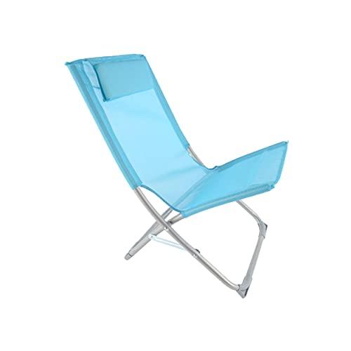 Kasalingo spiaggina mare pieghevole con poggiatesta 50x47 h 72 richiudibile Portatile da Spiaggia Piscina Campeggio, in acciaio, compatta e leggera. (Blu)