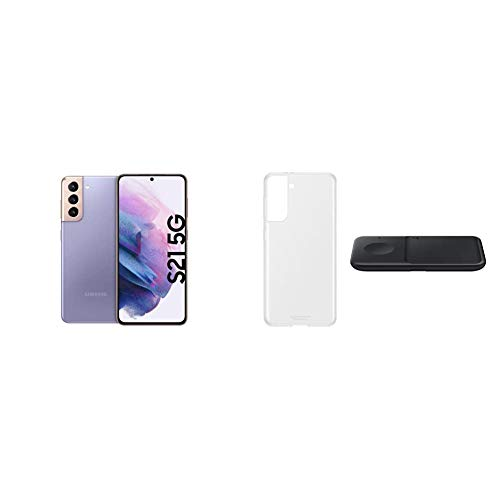 Samsung S21+ 5G, Android Smartphone ohne Vertrag, Triple-Kamera, Infinity-O Display, 256 GB Speicher, Phantom Violet+ Starter Kit S21+ Clear Cover transparent inkl. Wireless Charger Duo P4300