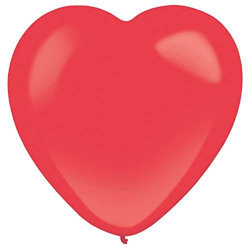 amscan 9905696 - Globos de látex (50 Unidades), diseño de corazón, Color Rojo