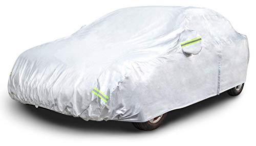 AmazonBasics - Telo copriauto argentato, resistente alle intemperie - in tessuto Oxford 150D, per berline fino a 570cm