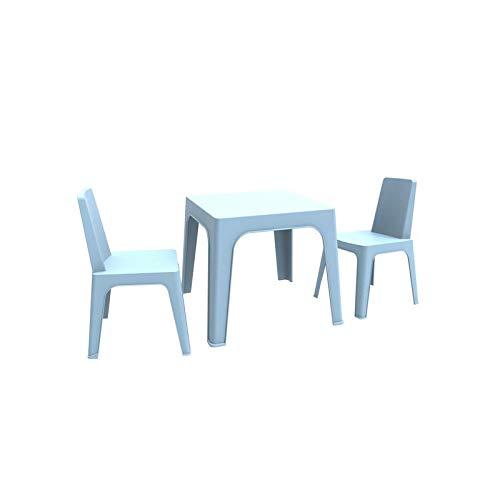 resol Julieta set infantil de 2 sillas y 1 mesa para interior, exterior, jardín - color azul cielo