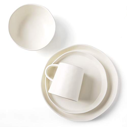 LE TAUCI 4 Piece Matte Glaze Dinnerware Set, Place Setting Service One Person, White