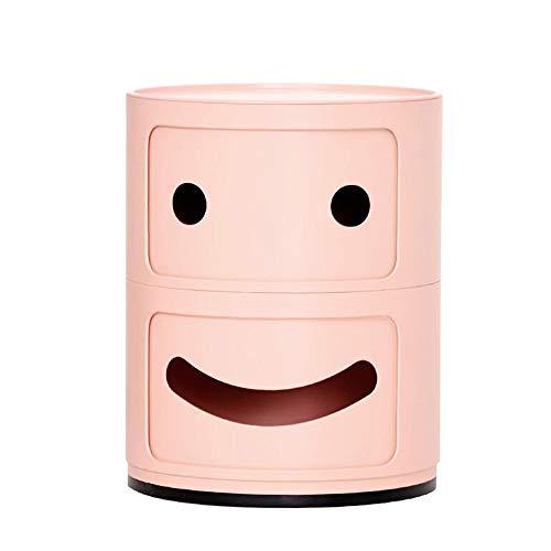 Jcnfa-bijzettafel Smiley nachtkastje, rek met laden, ronde kast, 2 kleuren