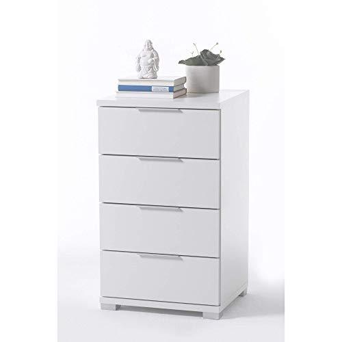 Universal Nachttisch in Weiß - Moderner Nachtschrank mit vier Schubladen für Ihr Boxspringbett - 46 x 79 x 42 cm (B/H/T)