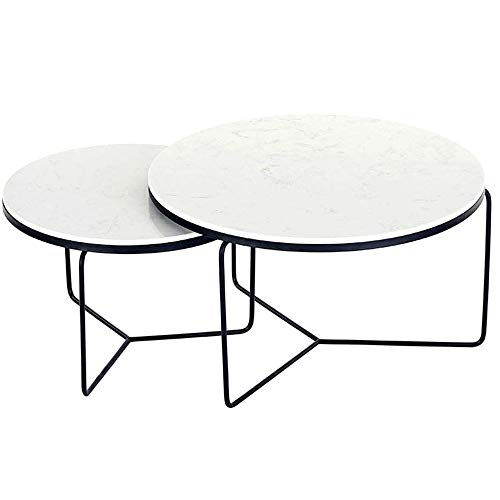 GRXXX Coffee Tables Nesting Coffees End Tables Marble Top Modern Furniture Decor Side Table Round Occasional Stand Tea Table for Living Room Home And Office, Set of 2