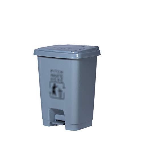 Chang-S-Q-123 Bote De Basura De Pisado Exterior, Cubo De Reciclaje Cuadrado De Plástico Con Papel De Reciclaje De Residuos Gris De Tapa Para La Fábrica De Cocina De La Calle De La(Size:30L,Color:gris)