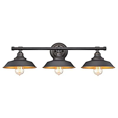Westinghouse Lighting 6344900 Iron Hill Three-Light Indoor Wall Fixture, 3, Oil Rubbed Bronze/Bronze