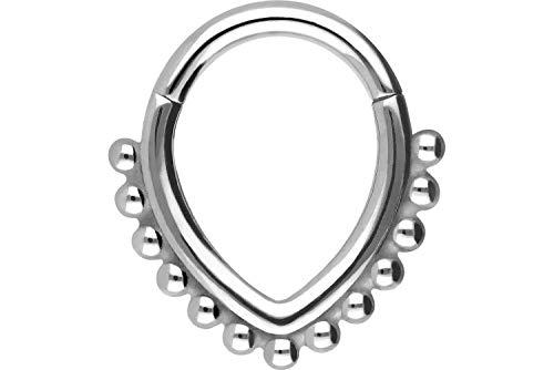 PIERCINGLINE Surgical Steel Clicker Drop + Balls Piercing Ring Nose Septum Ear Helix Colour & Size Selection silver colours