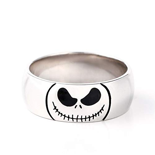 Jeulia Jack Skellington and Sally Couple Rings 925 Sterling Silver Women Men Band Set Halloween Jewelry Anniversary Promise Rings for Him and Her with Jewelry Gift Box (Men, 9.5)