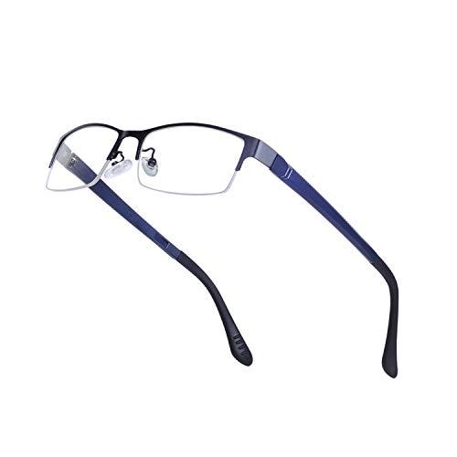 JoXiGo  Halbrahmen Rechteckig Metall Brillenfassungen für Herren Ohne Stärke mit Brillenetuis, M, Schwarz+blau