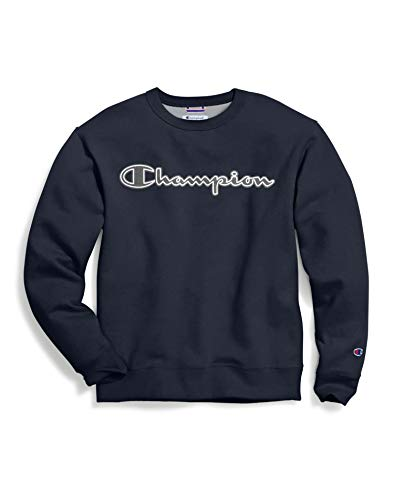 Champion Men's Powerblend Applique Crew, Navy, Medium