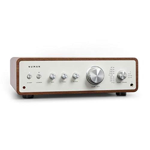 NUMAN Drive Stereo-Verstärker Digital, HiFi Verstärker, Retro, Ausgangsleistung: 2 x 170 W / 4 x 85 W RMS, 5 x Linein / 1 x Plattenspieler-Anschluss / 1 x CoaxIn / 1 x OpticalIn , Walnuss