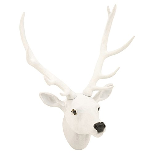 Easygift Products Wall Mounted Reindeer Head Christmas Decoration Stag Ornament Trophy (White Reindeer-Fur [Small])