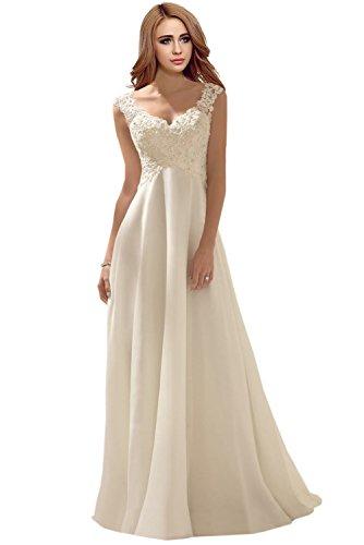 Milano Bride Elegant V-Ausschnitt Spitze Chiffon Hochzeitskleider Brautkleider Brautmode Damen Festkleider Rueckenfrei -46-Elfenbein