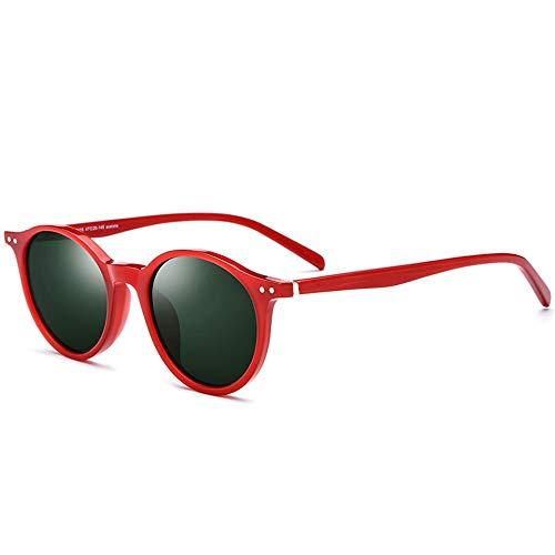 SWNN Sunglasses Marco De La Placa De Color Gafas De Sol Polarizadas Mujer Gafas De Sol Retro Redondas Protección UV400 (Color : Red)