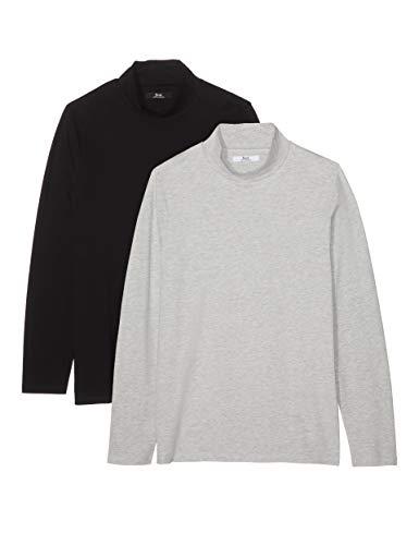 Amazon-Marke: find. Herren Slim Fit-T-Shirt mit V-Ausschnitt, 2er-Pack, Mehrfarbig (Grey Marl/Black), XL, Label: XL