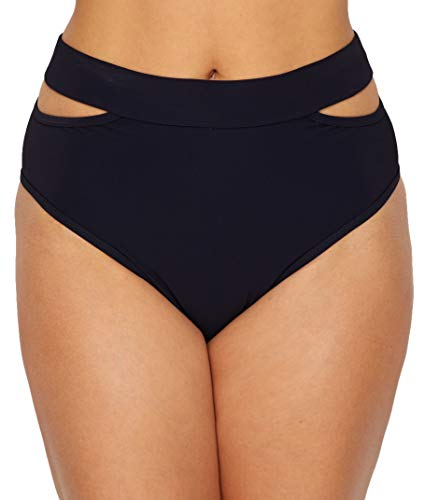 Miss Mandalay BLACK Icon Split High-Waist Bikini Swim Bottom, US Small