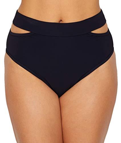 Miss Mandalay Icon Split High-Waist Bikini Bottom, S, Black