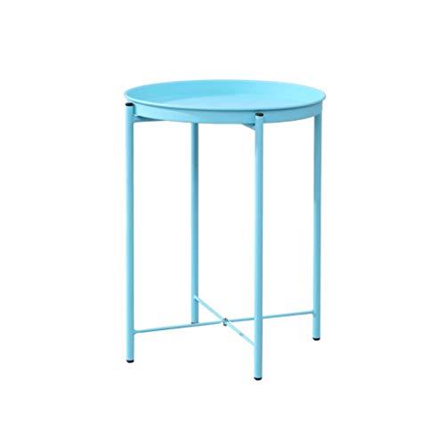 Table Basse Ronde, Table d'appoint de Salon Multi-Fonctions pour canapé, Tablette de Chevet pour Chambre à Coucher, Porte-Fleurs de Bureau, métal, Noir et Blanc (Color : Blue)