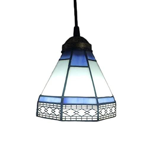 AIBOTY Tiffany Style Colgante Colgante lámpara 6'de Ancho lámpara de Cristal manchada Tonos Vintage decoración lámpara Colgante E27 1...