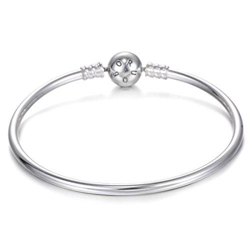 BORUO Sterling Silver Chain Bracelet Bangle Bracelet Style Snap Clasp Fits Troll Chamilia Carlo Biagi Zable Charms Beads-7 Inch