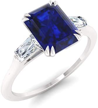 Diamondere Natural and Certified Blue Sapphire and Diamond Baguette Engagement Ring in 14K White product image