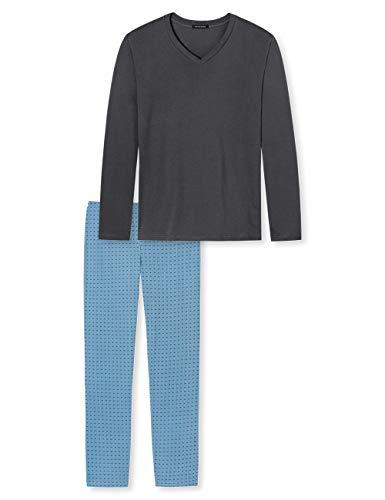 Schiesser Herren lang Zweiteiliger Schlafanzug, Grau (Dunkelgrau 205), 52