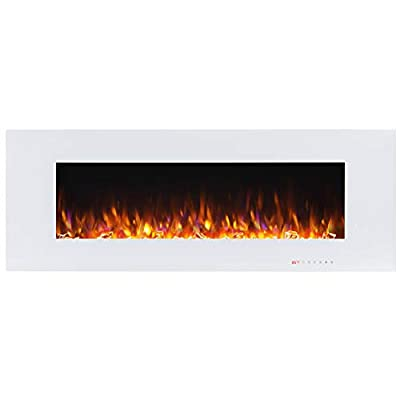Valuxhome 50 Inches Fireplace Wall Mounted, Electric Fireplace Heater 1500W with Remote Control, Timer, Thermostat, White