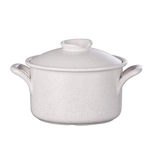 DYXYH Cacerola de cerámica, cerámica con Las Tapas Leche 3000ml cazuela Guiso Sopa Pan Bote Blanco