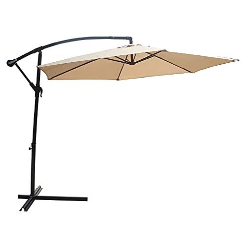 CHLDDHC Sombrilla de jardín Desmontable, sombrilla en voladizo Impermeable inclinable con manivela y 8 Varillas Resistentes, para Actividades al Aire Libre, césped, terraza