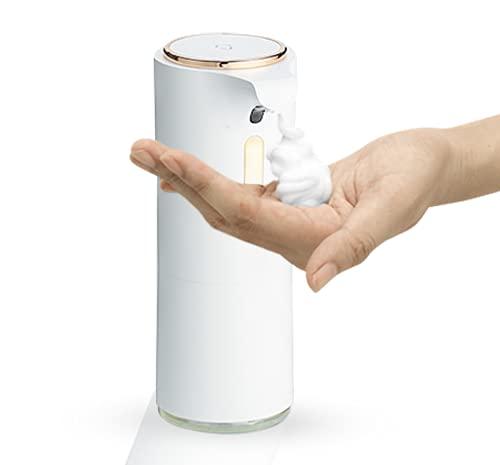 MAGANO automatischer Schaumseifenspender 250ml - No Touch Sensor - Design Seifenspender für Küche Badezimmer und Wellness - Weiß / Gold [Neue Generation]