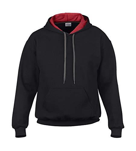 Gildan HeavyBlend™ Hooded Sweatshirt (S, Black/Red)
