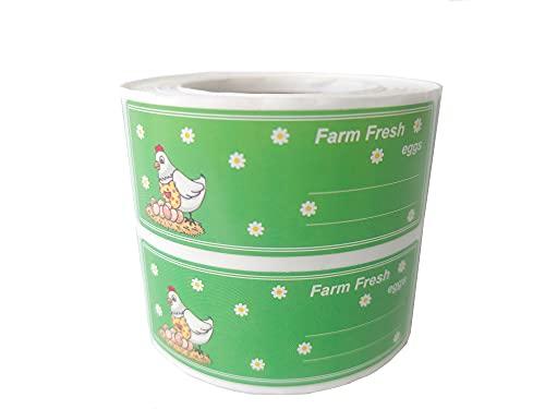 Etiketten mit Bauernhof-Frischeier, rechteckig, Hühnerei-Etiketten, für Bauernmarkt, Verpackung, Bauernhof, frische Produkte, Eierkarton-Etiketten, 500 Stück pro Rolle (2,75 cm)