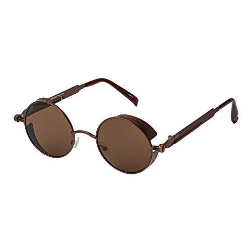 Ultra Braun Steampunk Stil Runde Sonnebrille für Herren und Frauen UV400-Schutz Retro Cyber Goggles Metall Rand Gothic Punk