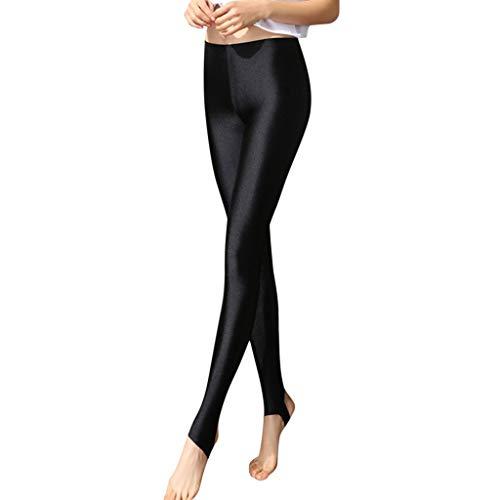 Tefamore Medias Mujer Polainas Pantalones Brillantes más Fertilizante para Aumentar los Pantalones de las Polainas Fuera de las Mallas (L, Negro)