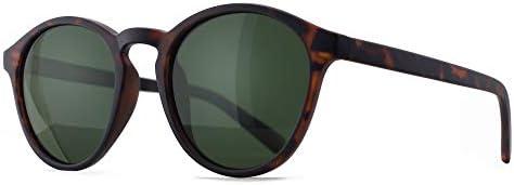 SUNGAIT Women s Classic Round Polarized Sunglasses Retro Vintage Style UV400 Amber Frame Matte product image