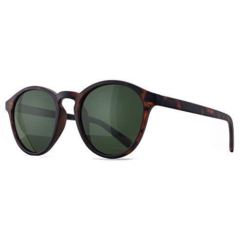 SUNGAIT Occhiali da Sole Rotondi Classici Unisex Polarizzati Occhiali da Sole Stile Vintage Retrò Protezione UV (Montatura Ambra - Lenti Verdi)