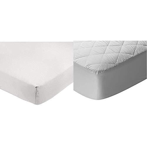 AmazonBasics Sábana Bajera Ajustable (polialgodón 200 Hilos) Blanco - 200 x 200 x 30 cm + Pikolin Home - Protector de colchón/Cubre colchón Acolchado Impermeable y Transpirable, 200x200cm-Cama 200