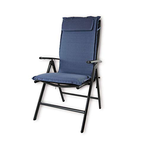 Nordje Gartenmöbelauflage | 120x50x8 cm | Hochlehner | mit Kopfkissen | Top Qualität Produkt | Sitzkissen Outdoor (Blau)