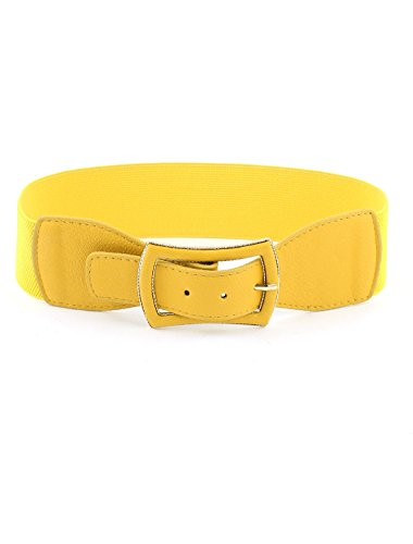 uxcell Lady Bowknot Shaped One Pin Buckle Elastic Waist Belt Waistband Yellow