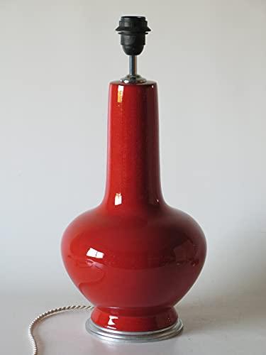 POLONIO Lampara de Ceramica Sobremesa Grande Salon Color Rojo 46 cm E27,...
