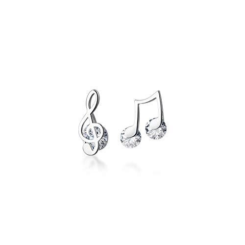 N/A Pendientes de Plata de Ley 925 con exquisitas Notas Musicales Pendientes de botón de Clave de Sol para Amantes de la música Chicas de Plata